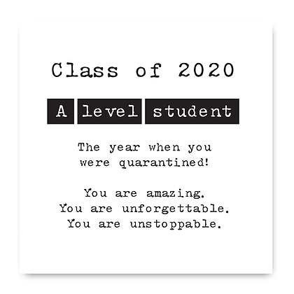 Class Of 2020 A Level Card, Isolation Card 2020, Lockdown Card