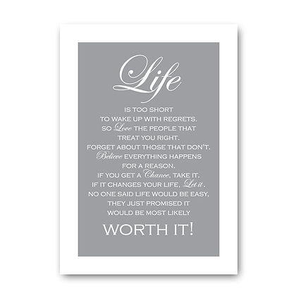 Life Inspirational Quote Sign,Life Sign