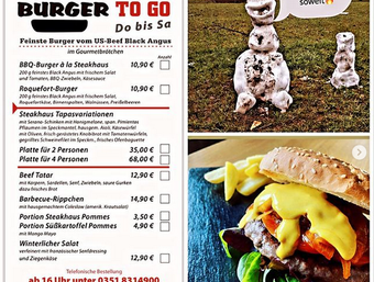 Steakhaus Radebeul - ab Heute wieder XL-Burger to Go