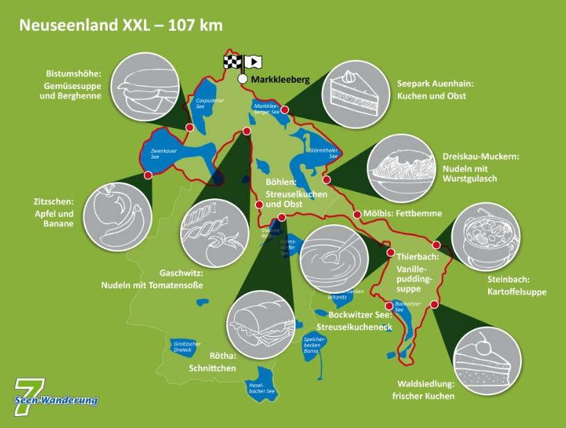 Kulinarische Streckenkarte bei der Neuseenland XXL Tour (107 km)