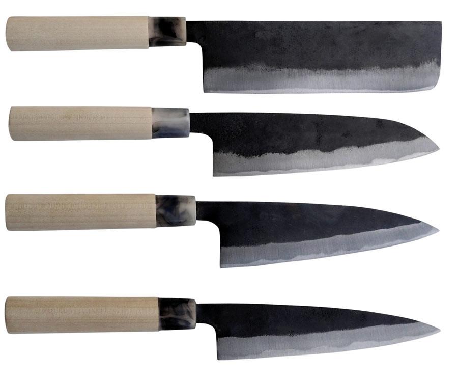 Messerserie Ryoma Sakamoto von kochmesser.de RS-01 Nakiri, RS-02 Santoku, RS-03 Funayuki und RS-04 Koyanagi
