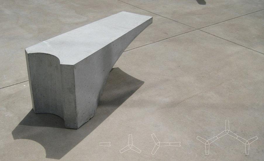Studio Zhan Concrete Bench view with diagram