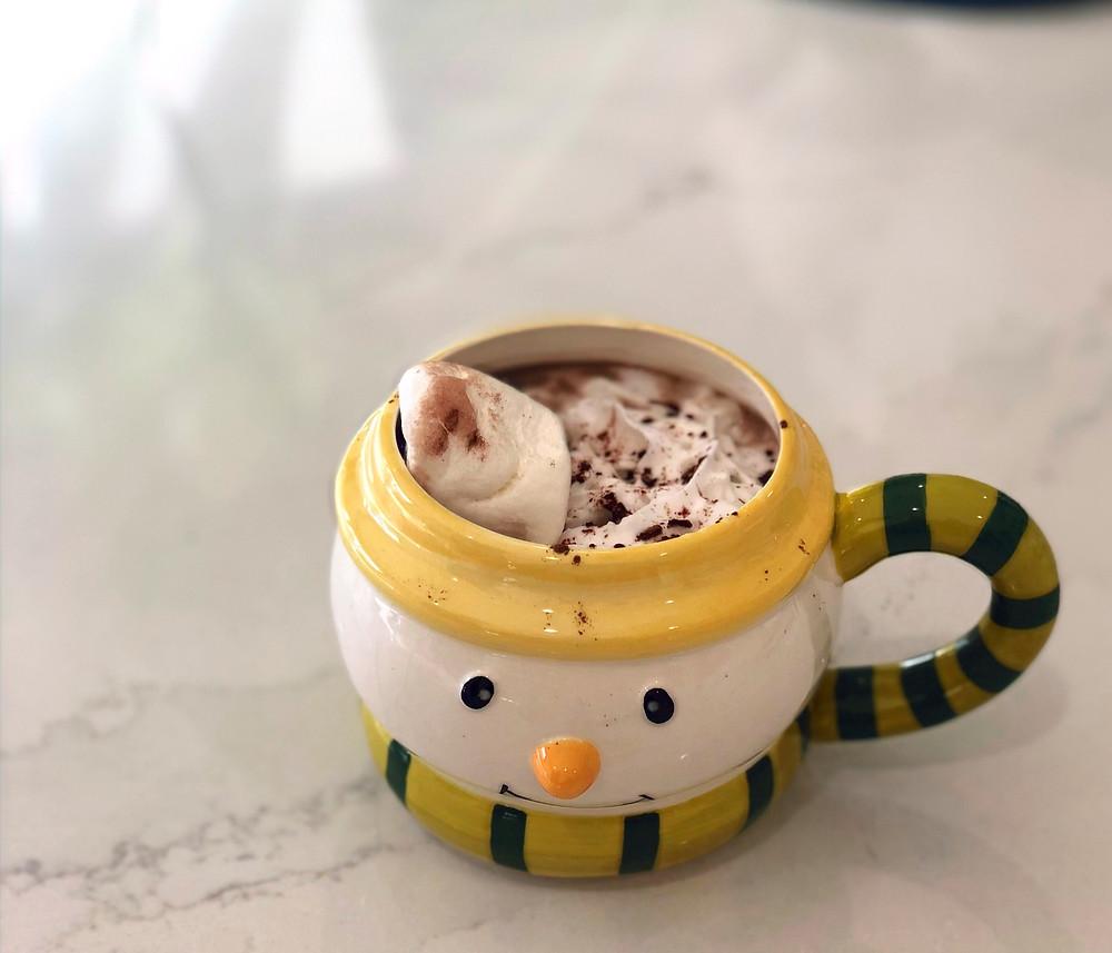 Dairy free hot chocolate in snowman mug