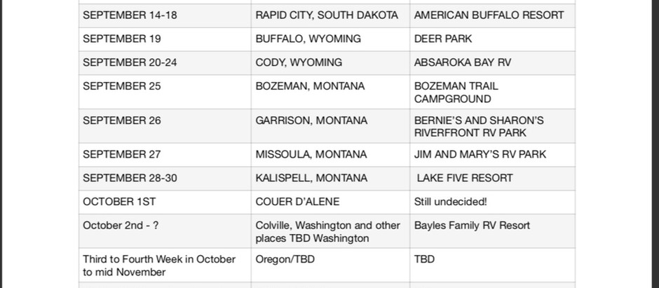 Wholly Rollin Itinerary