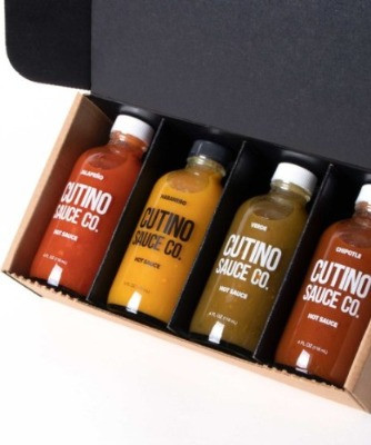 Gifting box of 4 bottles of Cutino Sauce Co. hot sauces