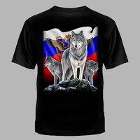 футболка волк-на флаге