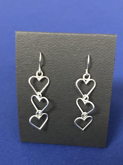 Earrings - Triple Hearts