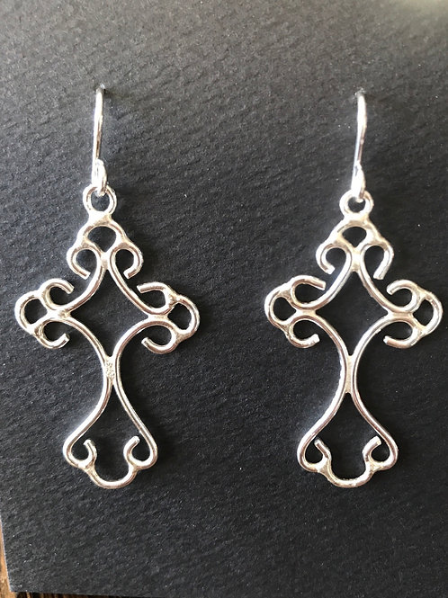 Large Frilly Cross Earrings