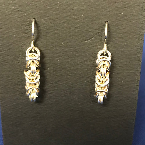 Earrings - Byzantine weave, silver and gold