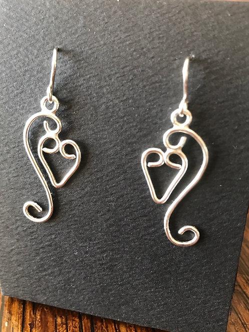 Curly Dangly Heart Earrings