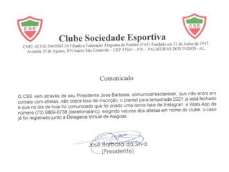"""Atletas do CSE sofrem golpe e perdem dinheiro para suposto """"Presidente"""" do clube"""