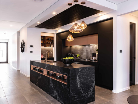 8 Kitchen Benchtop Colours Designers Pair with Black Cabinets