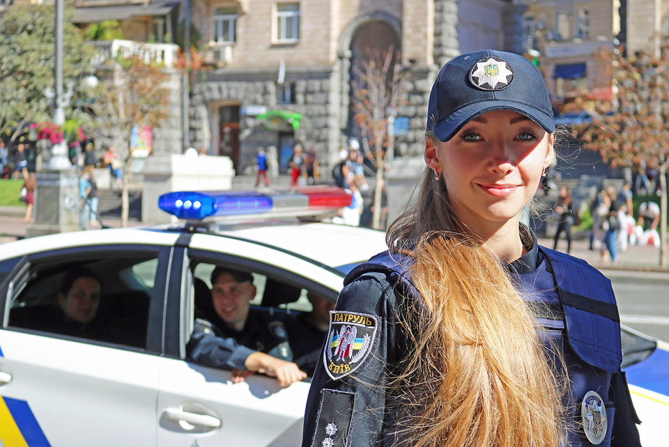 Police woman in Kiev