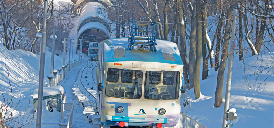 Kiev funicular in winter