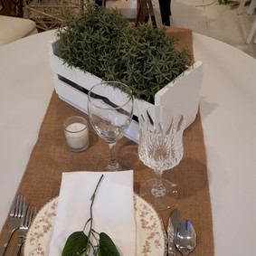 White crate centrepiece with Table number