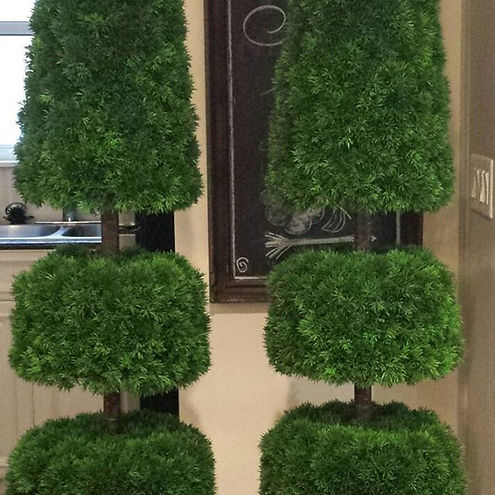 Our stunning 7' tall topiaries in gold u
