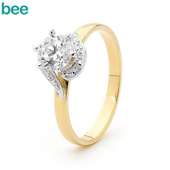 9ct Yellow & White Gold Cubic Zirconia Engagement Ring ...