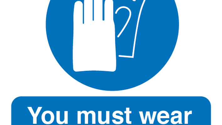 You Must Wear Hand Protection Label x 10