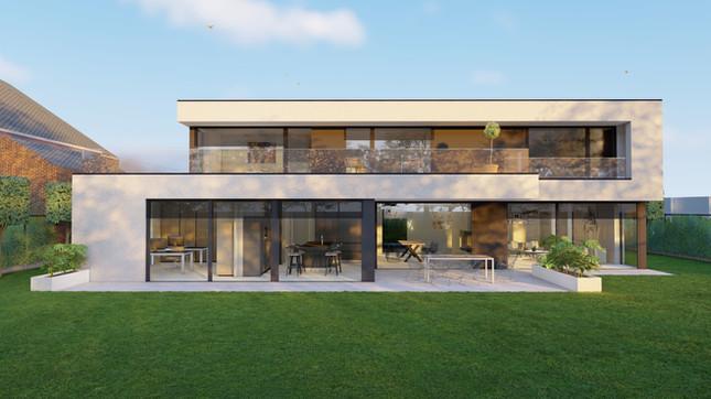 3d visualisatie moderne woning in opdracht van architect Miranda De Boeck