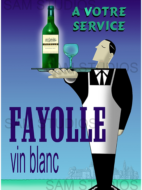 Art Deco Wine poster - Butler a Votre Service