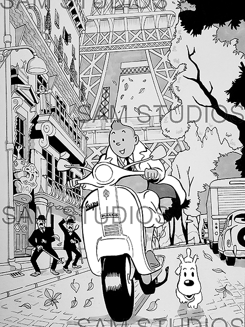 Tintin - Herge Homage - Vespa (monochrome version)