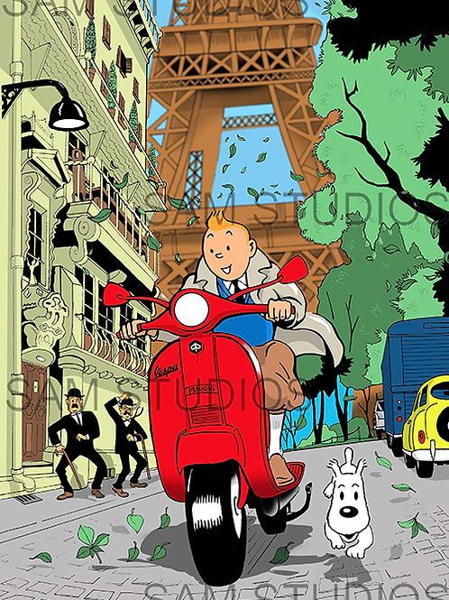 Tintin - Herge Homage - Vespa