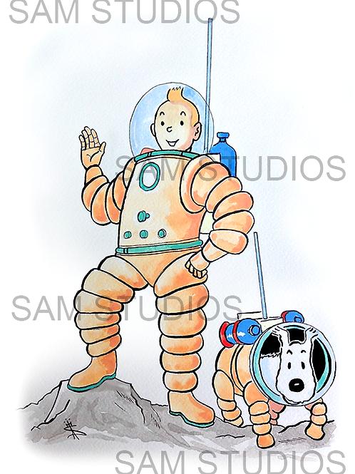 Tintin On the Moon - Watercolour
