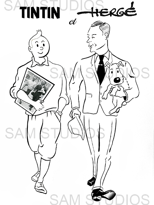 Tintin - Herge (monochrome version)