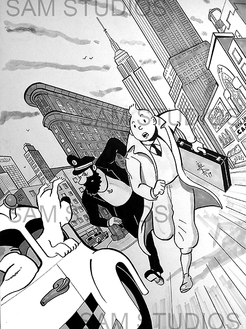 Tintin Takes Manhattan (monochrome version)