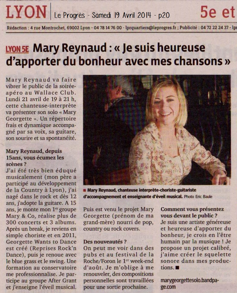 Le Progrès - Mary Reynaud
