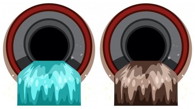 Imagem de agua limpa e agua suja, motivo do PRECEND existir