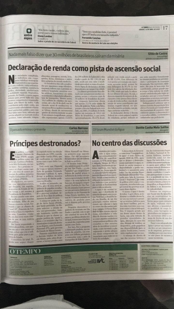 Imagem da pagina do jornal O Tempo