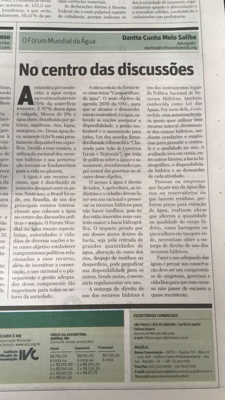 Imagem do texto publicado no Jornal