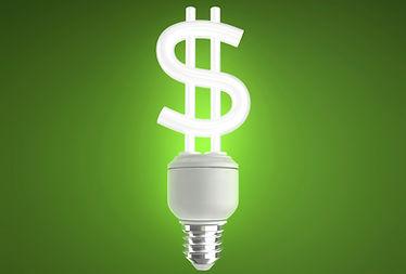 Imagem do dinheiro em forma de lampada de energia