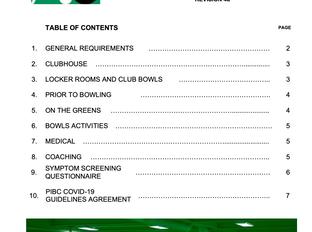 PIBC Phase 1 - Restart of Bowling - UPDATE: Sept. 7