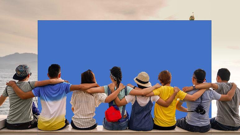 group hug full with shorter blue backgro