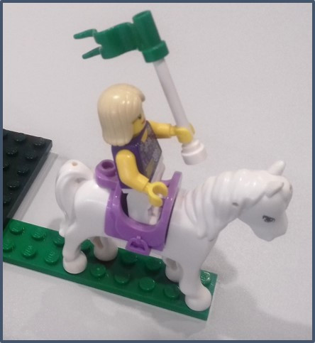 LEGO horse and rider with flag