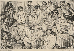 A Frenzied Effort - Drypoint by Peggy Bacon