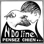 Logo de l'entreprise. Dessin d'une tête de femme avec une tête de chien qui forme un coeur