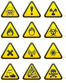 Set of Triangular Warning Hazard Signs.j