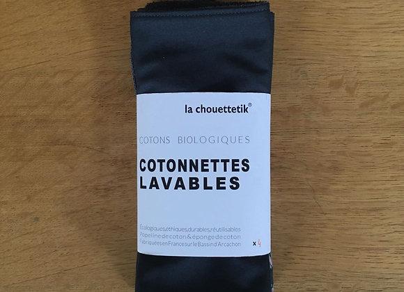 Cotonnettes lavables XL - Éponge de coton biologique - Lot de 4