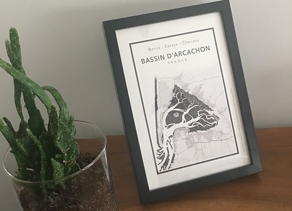 """Tableau """"par amour du bassin"""" - Noir 21 x 30 cm"""