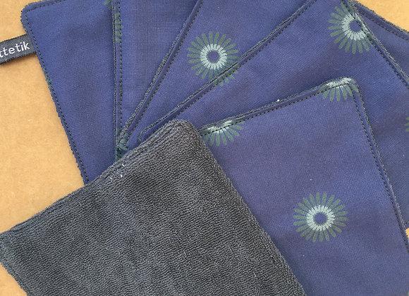 Lingettes lavables - coton bio - Lot de 6 avec pochon de lavage
