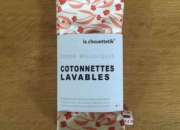 Cotonnettes lavables XL doublées éponge - Coton biologique - Lot de 4