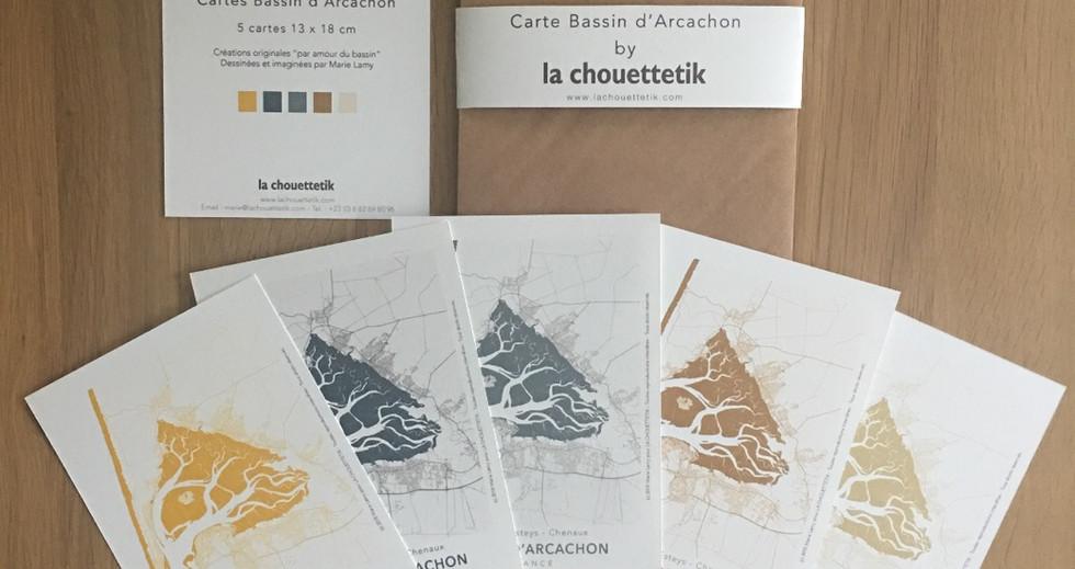 cartes Bassin d'Arcachon, réalisées à la main
