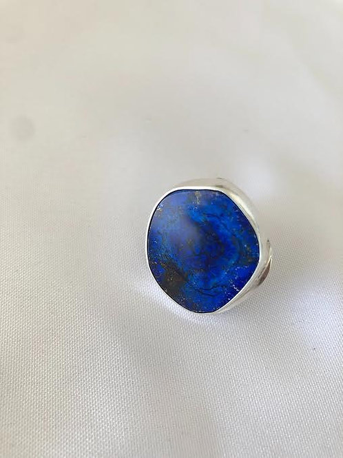 Azurite Sterling Silver Ring (Size 10)