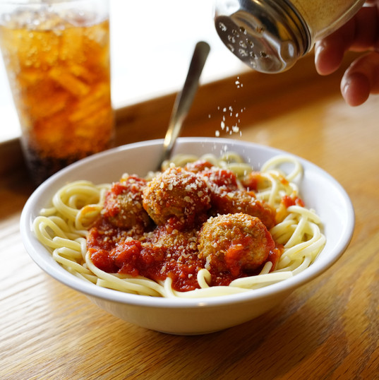 Our buffet is always accompanied with fresh spaghetti, red sauce, and meatballs