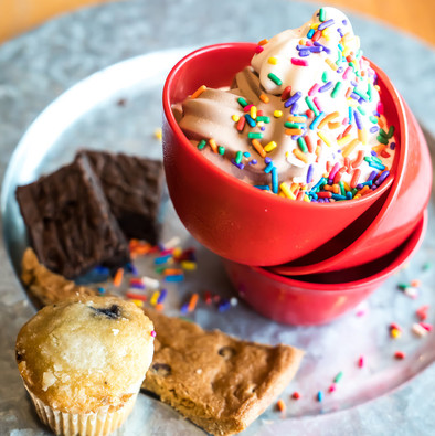Our dessert bar is equipped with a soft-serve station and many sweet treats to have after (or before) any meal