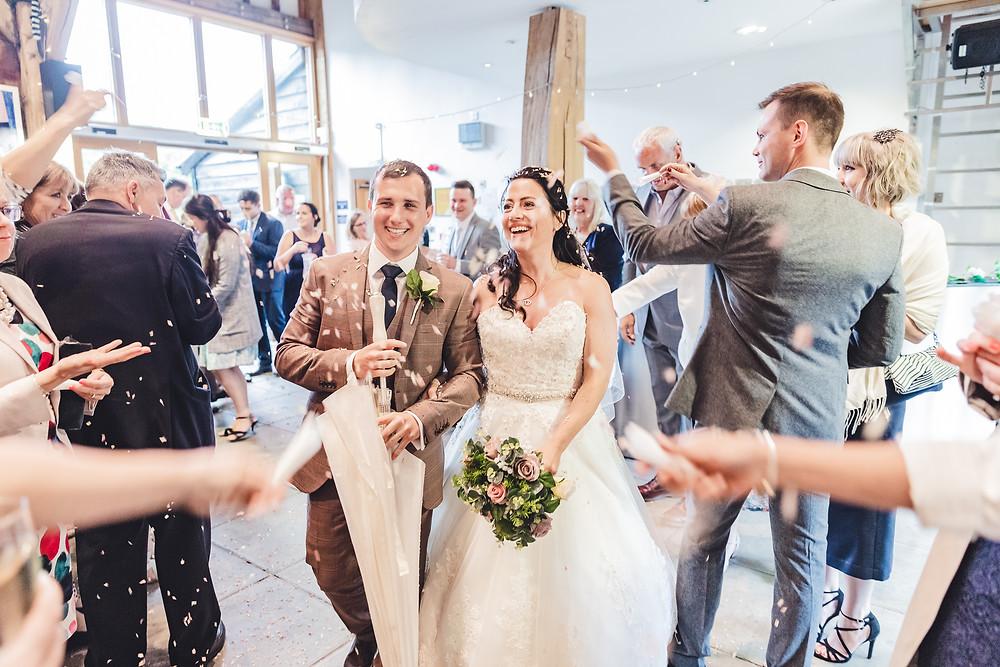 Hanger Farm Arts Centre Wedding confetti photograph