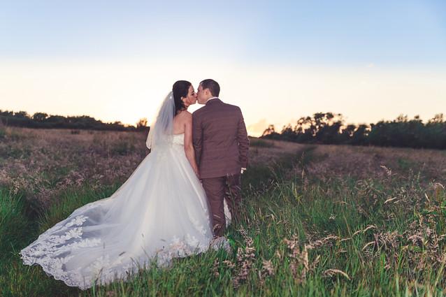 Wedding photo golden hour